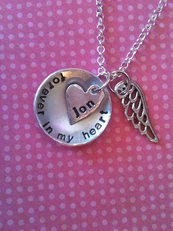 NEW-Forever In My Heart...Hand Stamped Necklace by Dark Chocolate & Tulips