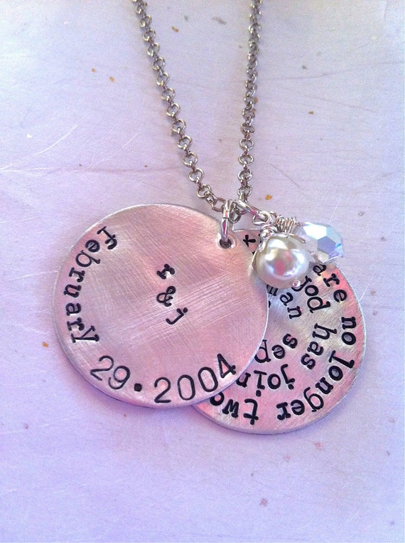 Custom listing...NEW-WEDDING VOWS....Hand Stamped Keepsake Necklace