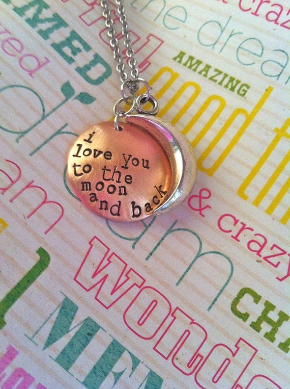 NEW-I Love You To The Moon and Back...Copper and Pewter Hand Stamped Necklace