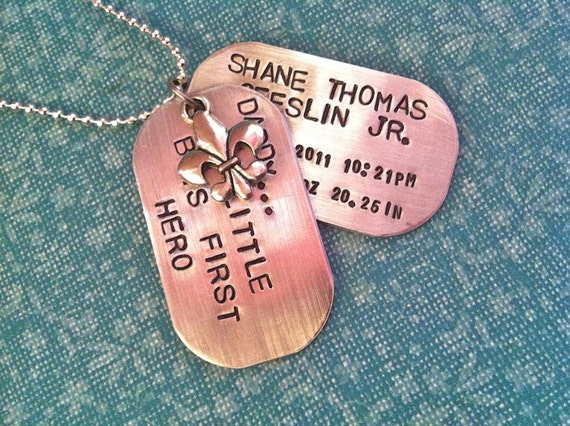 PROUD DAD..Dog Tag Style Hand Stamped Necklace