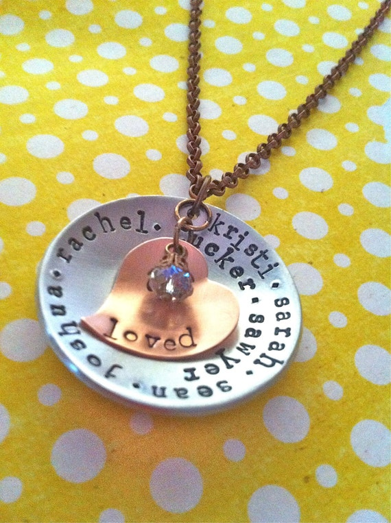 NEW-LOVED...Mixed Metal Hand Stamped Necklace