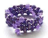 Purple Crackle Glass & Acrylic Memory Wire Bangle Bracelet