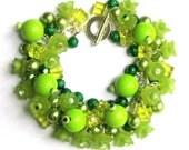 Bright Green Cluster Bracelet