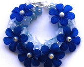 SALE, Blue Lucite Flower Bracelet, HALF PRICE