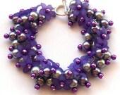Lilac Cluster Bracelet, Purple Flower and Pearl Bracelet
