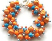 Cluster Bracelet, Orange and Blue, Pearl Beaded Bracelet,