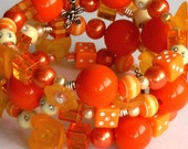 Orange Random Bead Bangle Bracelet