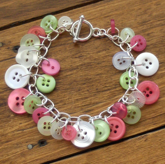 Green, Pink and White Button Bracelet