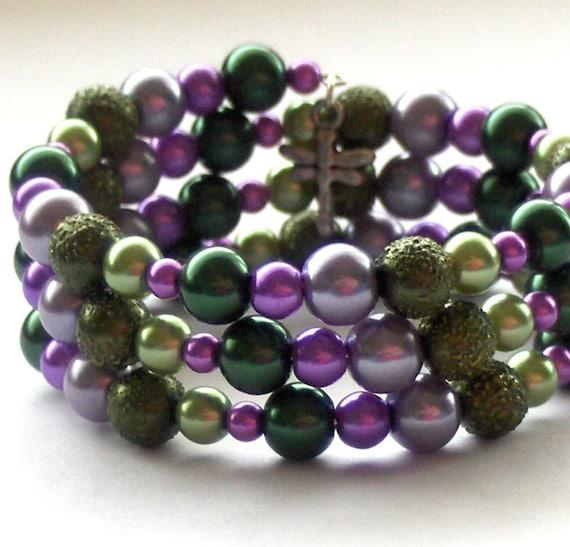 Green and Purple Bracelet, Pearl Bead Bracelet, Memory Wire Bangle