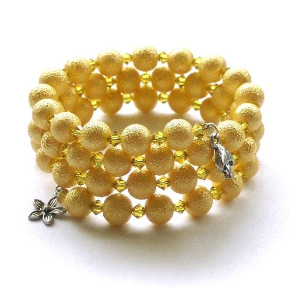 Yellow Textured Glass Pearl Bangle Bracelet, Memory Wire Bangle Bracelet, Yellow Pearl Bracelet