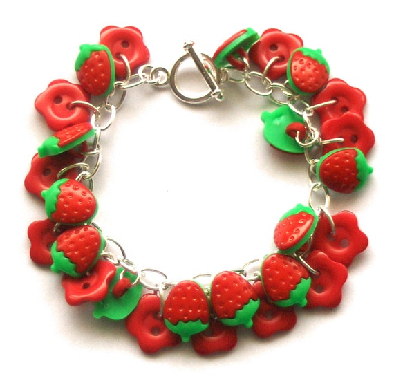 Red Strawberry Button Bracelet