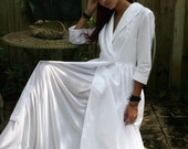 Vintage 40's Inspired Robe White Cotton Coachmans Three Quarter Sleeve Dressing Gown Lingerie Robe