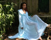 Something Blue Bridal Wedding Cotton 40's Coachmans Robe Hand Stamped Wrap Dbl Breasted Robe