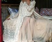 Bridal Robe Wedding Lingerie Ivory Lace Robe Bridal Sleepwear Angel Sleeve Boudoir Trousseau Sarafina Dreams Bridal