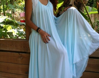Something Blue Bridal Nightgown Bridal Lingerie Turquoise Blue Wedding Lingerie Nightgown Full Sweep Nylon