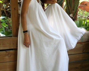 White Cotton Full Swing Bridal Wedding Lingerie Romance Honeymoon Dream Nightgown Sleepwear