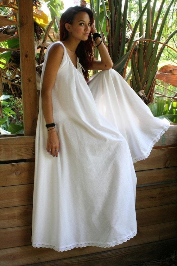 White Cotton Full Swing Bridal Wedding Lingerie Romance Honeymoon Dream Nightgown Sleepwear