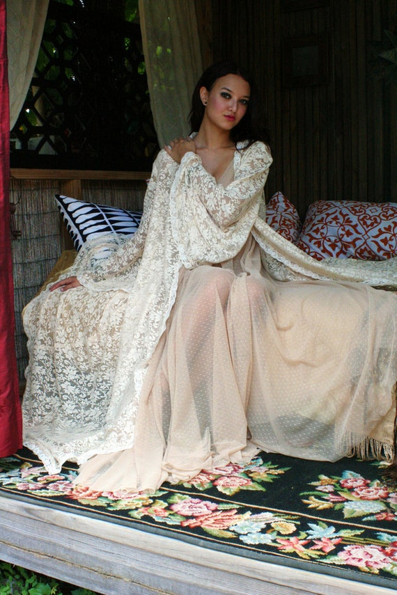 Bridal Robe Wedding Lingerie Ivory Lace Robe by SarafinaDreams