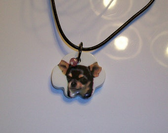 Ceramic Dog Paw Charm Chihuahua breed handcut