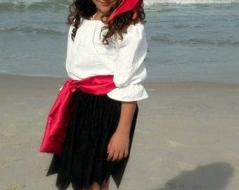 Child Pirate , Pirates Girl Halloween Costume size 6 through 7