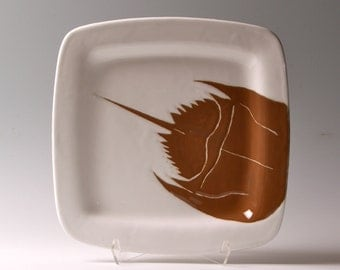 Horseshoe crab, Brown and white horseshoe crab medium square ceramic plate, tray, platter, dish by jessica howard