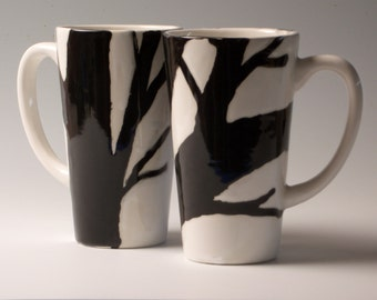 "Black and white ""Twiggy"" tree branch coffee and tea cup mug"