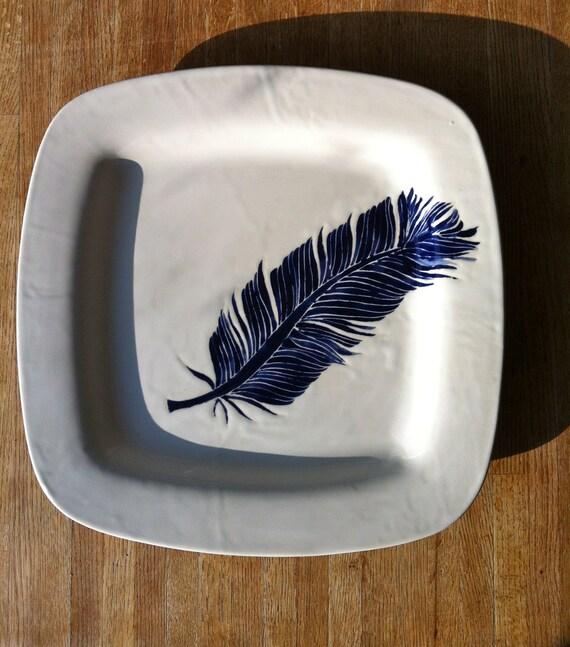 white and navy blue square, Jessica Howard ceramic serving platter, tray, charger, plate