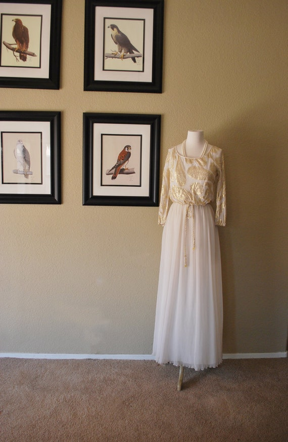 Vintage Maxi Dress 60s Dalani Designer Accordion Pleated Chiffon Maxi Gown