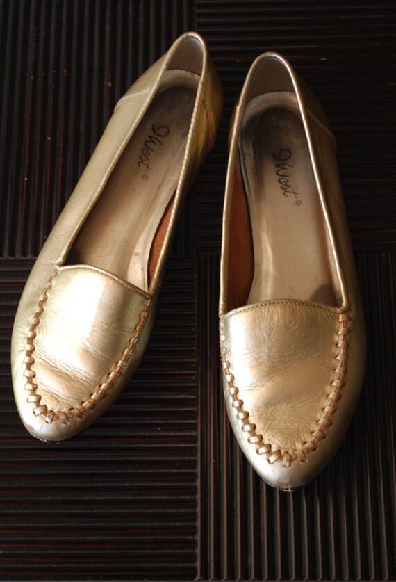 Reserved // Vintage Metallic Gold Flats 80s Nine West Gold Loafers 8 1/2 M