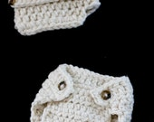 Creamy Vanilla Double button Chunky Visor Beanie and Diaper Cover Set Newborn photography prop