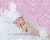 White Bunny beanie with pink ears and fluffy tail for newborns great photo prop great Halloween hat