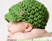 CROCHET PATTERN, visor beanie with double button accent PDF size 0-3 months