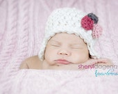 Newborn Chunky Earflap Beanie accented with 3 crocheted roses CUSTOM colors upon request photography prop