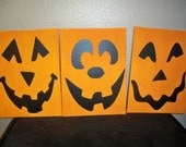 Set of 3 Pumpkin / Jack O'Latern vinyl faces on canvas
