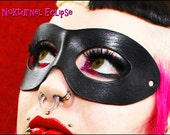 Black Leather Superhero Mask Masquerade Fetish Harley Quinn Catwoman Superhero Halloween Comic Con Costume - AVAILABLE in ANY COLOR