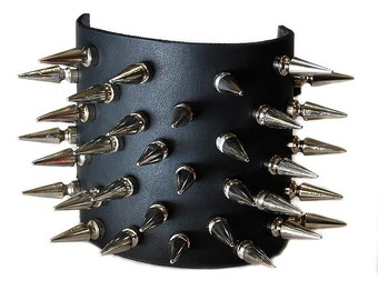 Pair Spiked Leather Bicep Armband Covers with Buckles in Sporadic Design - Black Metal Cosplay Halloween Costume Sporadic Design - UNISEX