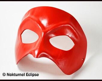 Red Dark Lord Leather Mask Fetish Mardi Gras Legend Phantom Masquerade Superhero Halloween Cosplay Fantasy Devil Costume UNISEX