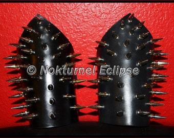 Pair Spiked Leather Bicep Armband Covers Black Metal Fetish Renaissance Fantasy Cosplay Halloween Costume Sporadic Design - UNISEX