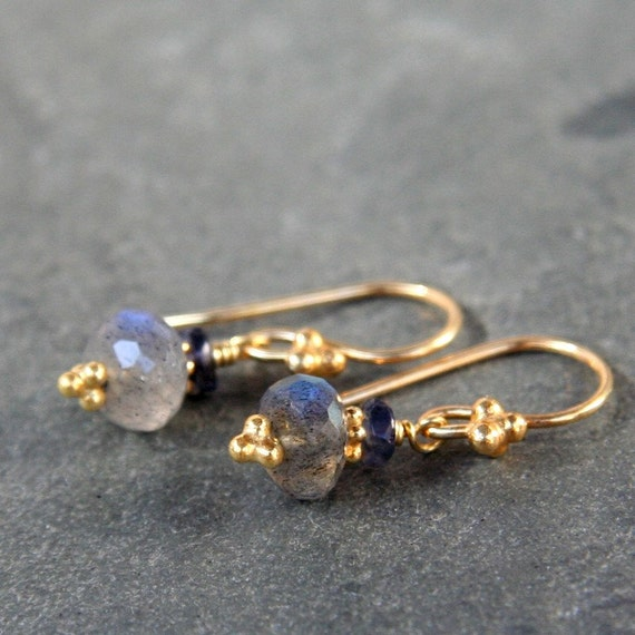 Labradorite, Iolite and Gold Earrings