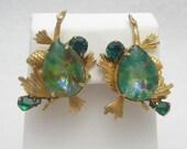 Vintage Earrings Foil Glass Pine Cones E892