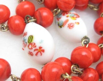 Lovely Red Glass Beads and Candy Art Glass N34