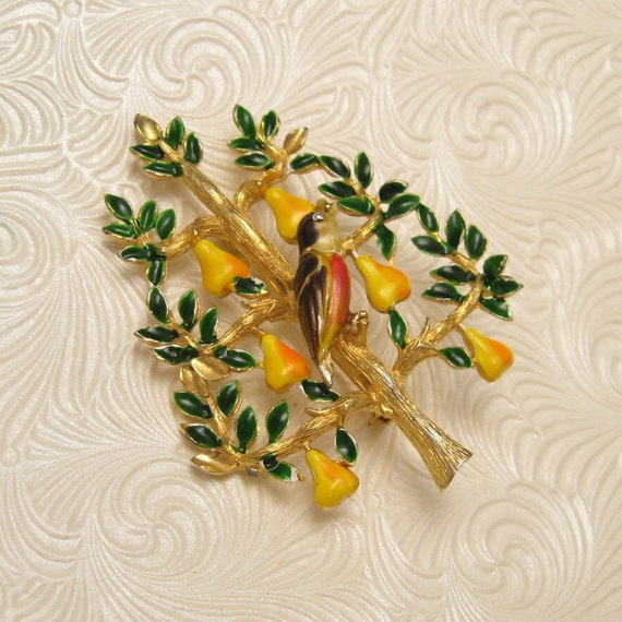 Partridge in a Pear Tree Brooch Cadoro P3815