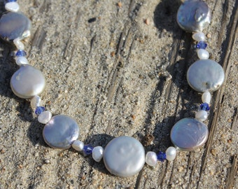 Freshwater Coin Pearls & Crystals Necklace
