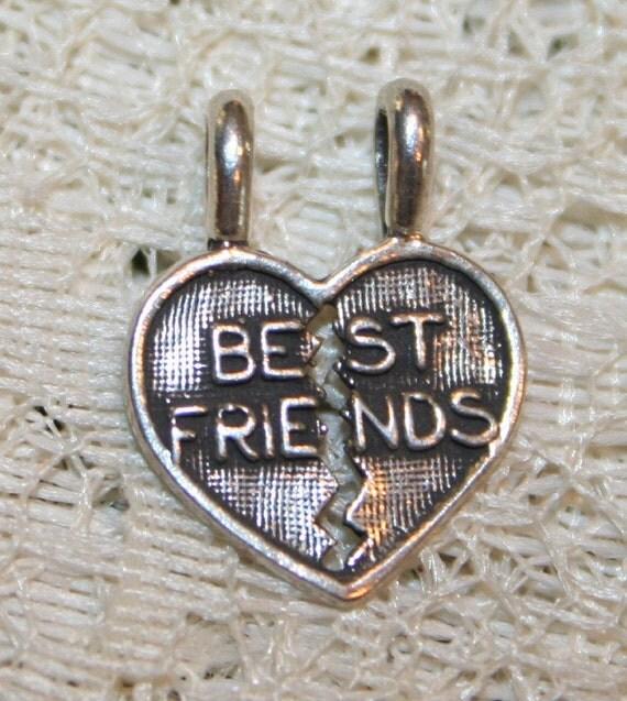 Cute Sterling Silver BEST FRIENDS Heart Slide Pendant