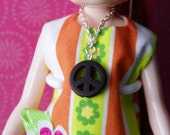 necklace for Blythe doll with silver chain large brown peace sign pendant B165
