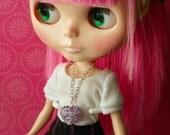 necklace puffed purple heart pendant for Blythe Barbie B173