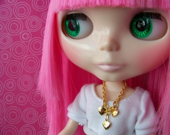 necklace for Blythe doll gold chain with three gold heart charms B116