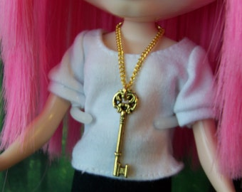 necklace for Blythe Barbie gold chain with key charm pendant B145