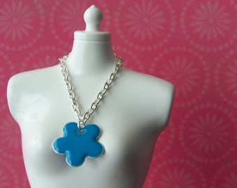 necklace for Blythe doll silver chain with large blue enamel flower charm B160