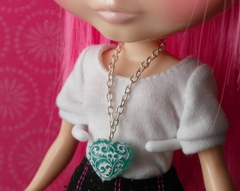 necklace puffed turquoise heart pendent for Blythe - B176